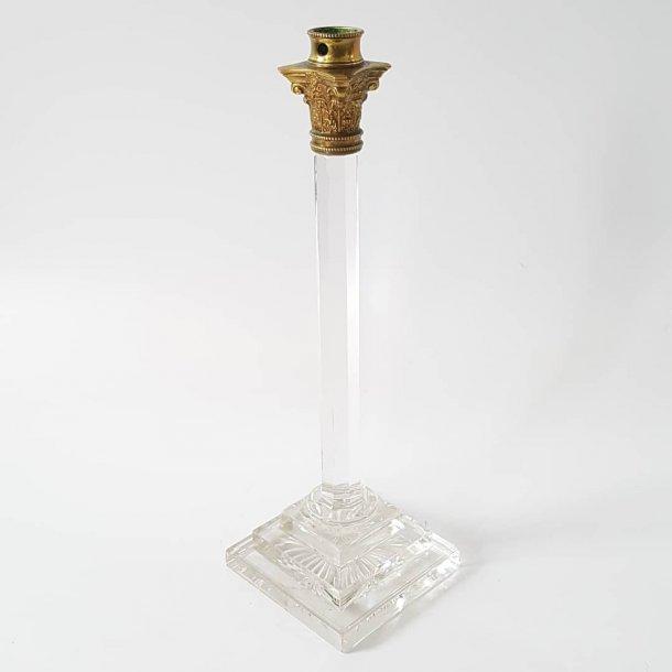 Viktoriansk lysestager i krystal og bronze